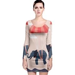 Digital Slon Parashyut Vektor Long Sleeve Bodycon Dress