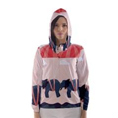 Digital Slon Parashyut Vektor Hooded Wind Breaker (Women)