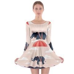 Digital Slon Parashyut Vektor Long Sleeve Skater Dress