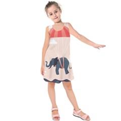 Digital Slon Parashyut Vektor Kids  Sleeveless Dress