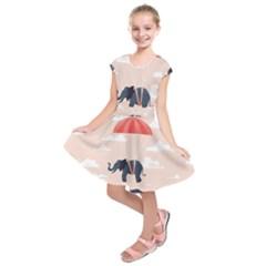 Digital Slon Parashyut Vektor Kids  Short Sleeve Dress