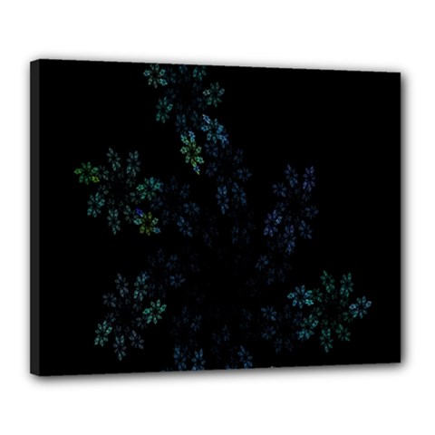 Fractal Pattern Black Background Canvas 20  X 16