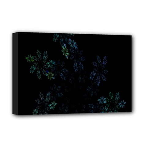 Fractal Pattern Black Background Deluxe Canvas 18  x 12