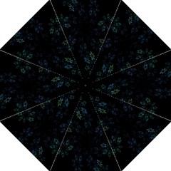 Fractal Pattern Black Background Hook Handle Umbrellas (Large)