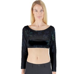 Fractal Pattern Black Background Long Sleeve Crop Top
