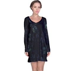 Fractal Pattern Black Background Long Sleeve Nightdress