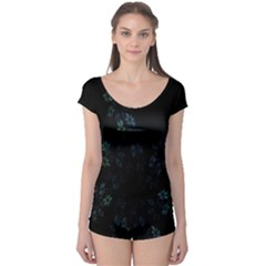 Fractal Pattern Black Background Boyleg Leotard