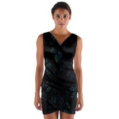 Fractal Pattern Black Background Wrap Front Bodycon Dress