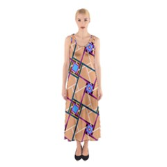 Overlaid Patterns Sleeveless Maxi Dress