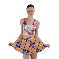 Overlaid Patterns Mini Skirt