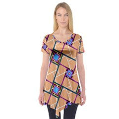 Overlaid Patterns Short Sleeve Tunic