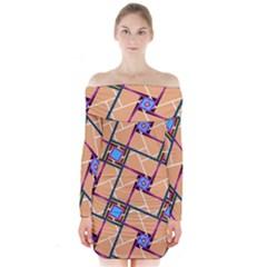 Overlaid Patterns Long Sleeve Off Shoulder Dress