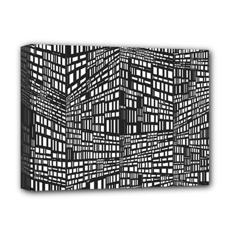 Recursive Subdivision Between 5 Source Lines Screen Black Deluxe Canvas 16  X 12