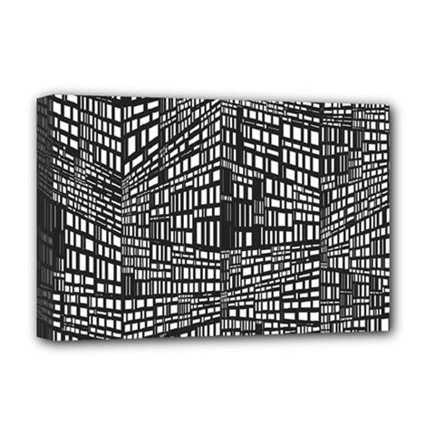 Recursive Subdivision Between 5 Source Lines Screen Black Deluxe Canvas 18  x 12