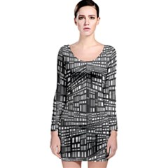 Recursive Subdivision Between 5 Source Lines Screen Black Long Sleeve Bodycon Dress