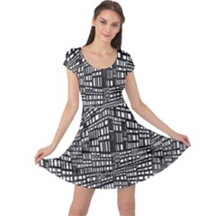 Recursive Subdivision Between 5 Source Lines Screen Black Cap Sleeve Dresses