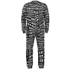 Recursive Subdivision Between 5 Source Lines Screen Black OnePiece Jumpsuit (Men)