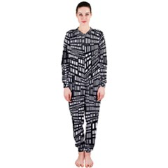 Recursive Subdivision Between 5 Source Lines Screen Black OnePiece Jumpsuit (Ladies)
