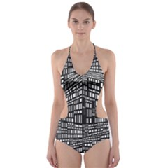 Recursive Subdivision Between 5 Source Lines Screen Black Cut-Out One Piece Swimsuit