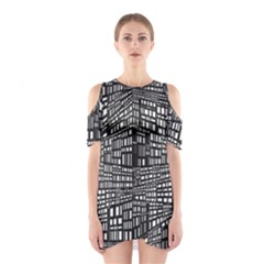 Recursive Subdivision Between 5 Source Lines Screen Black Shoulder Cutout One Piece