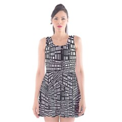 Recursive Subdivision Between 5 Source Lines Screen Black Scoop Neck Skater Dress
