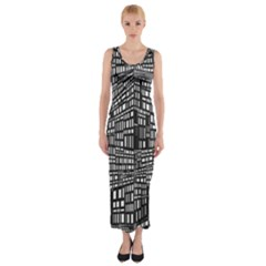 Recursive Subdivision Between 5 Source Lines Screen Black Fitted Maxi Dress