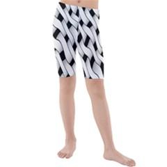 Black And White Pattern Kids  Mid Length Swim Shorts