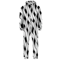 Black And White Pattern Hooded Jumpsuit (Men)