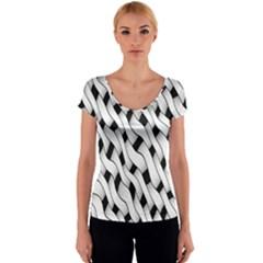 Black And White Pattern Women s V-Neck Cap Sleeve Top