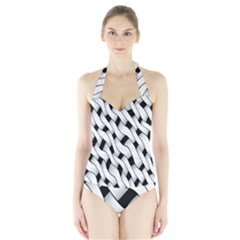 Black And White Pattern Halter Swimsuit