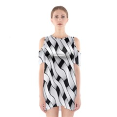 Black And White Pattern Shoulder Cutout One Piece