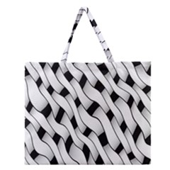 Black And White Pattern Zipper Large Tote Bag