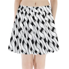 Black And White Pattern Pleated Mini Skirt