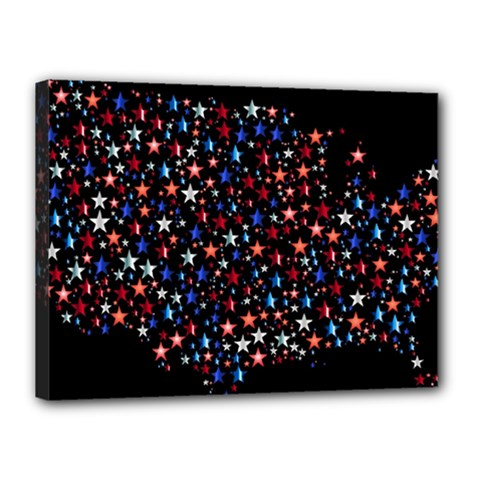 America Usa Map Stars Vector  Canvas 16  x 12