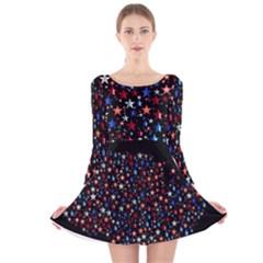 America Usa Map Stars Vector  Long Sleeve Velvet Skater Dress