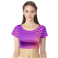 Pink And Purple Short Sleeve Crop Top (Tight Fit)