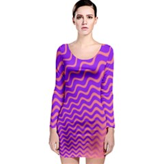 Pink And Purple Long Sleeve Bodycon Dress