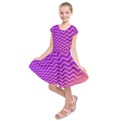 Pink And Purple Kids  Short Sleeve Dress