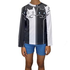 Texture Cats Black White Kids  Long Sleeve Swimwear