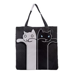 Texture Cats Black White Grocery Tote Bag