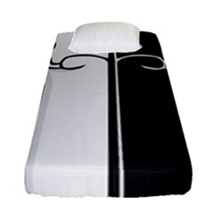 Texture Cats Black White Fitted Sheet (single Size)