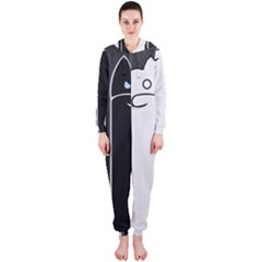 Texture Cats Black White Hooded Jumpsuit (Ladies)