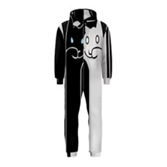 Texture Cats Black White Hooded Jumpsuit (Kids)