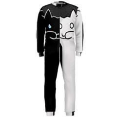 Texture Cats Black White OnePiece Jumpsuit (Men)