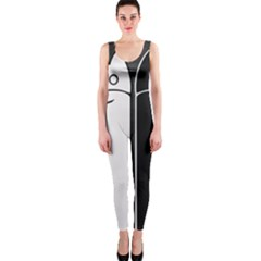 Texture Cats Black White Onepiece Catsuit