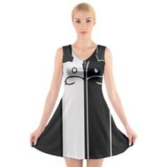 Texture Cats Black White V Neck Sleeveless Skater Dress
