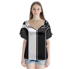 Texture Cats Black White Flutter Sleeve Top