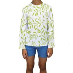 Leaves Pattern Seamless Kids  Long Sleeve Swimwear