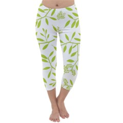 Leaves Pattern Seamless Capri Winter Leggings
