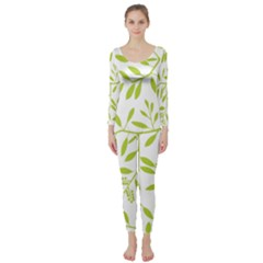 Leaves Pattern Seamless Long Sleeve Catsuit
